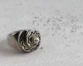 Reserved. Large cocktail silver ring with natural south sea pearl. SIZE: 6 3/4