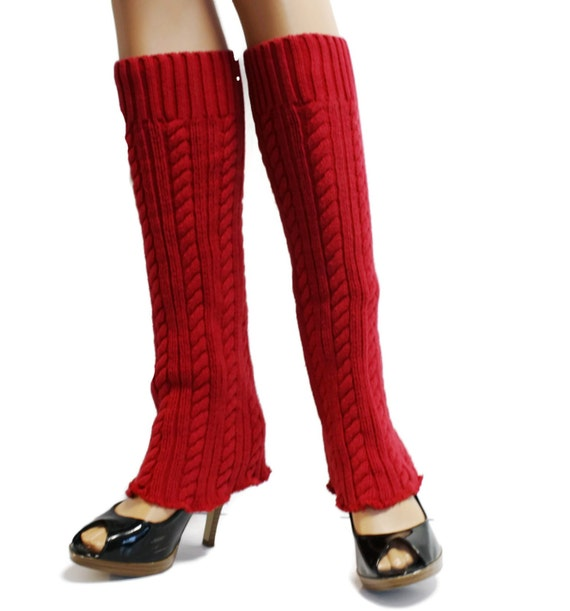 Red Upcycled Leg Warmers Upcycle Sweater Leg Warmers Womens
