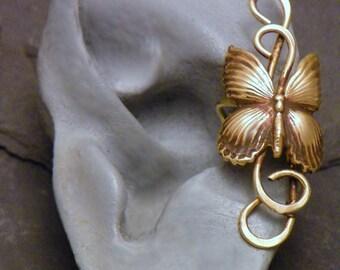 Brass Butterfly Ear Cuff  -   BABY BUTTERFLY   - Golden Butterfly Earcuff Wrap