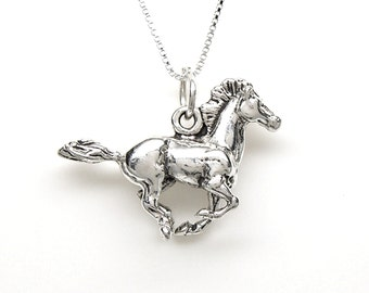 Horse Galloping Mustang Sterling Silver Equestrian Animal Charm Pendant Customize no. 2255