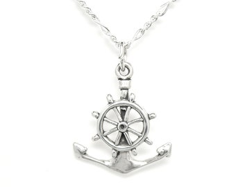 Anchor and Ship's Wheel Sterling Silver Nautical Charm Pendant no. 1948