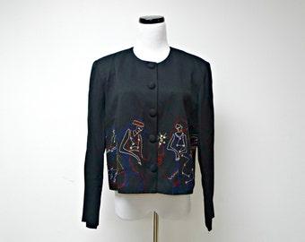 LADIES' NIGHT . 1980 vintage embroidered light jacket . size 14