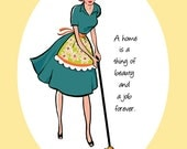 """PRINT - """"Mop Girl"""" retro quote dining room kitchen art mopping housework"""