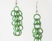 Short Green Shaggy Loops Earrings Handmade