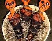 Set of 3 Creepy Pumpkins Halloween Primitive Handmade Bowl or Basket Stuffers