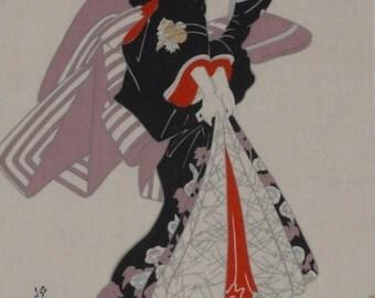 Tenugui Japanese Fabric 'Eisen Beauty Bijin' w/Free Insured Shipping