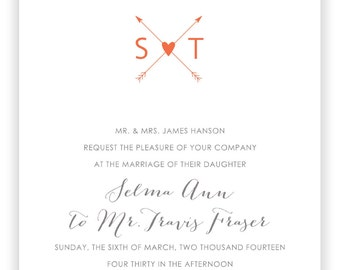 SALE Letterpress Wedding Invitations - LETTERPRESS - For the Heart - Set of 100 by Invited Ink