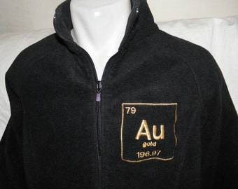 GOLD Jacket Embroidered Au Periodic Table Adult Ladies Large Black Fleece Ready To Ship