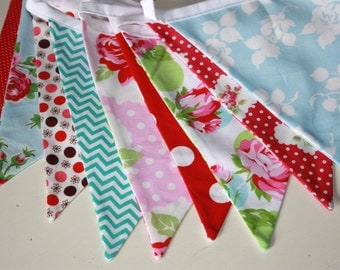 Bunting Banner, Fabric Flag Garland in  Pinks and Reds, Teal.  Weddings, Photo Prop, Parties. Ready To Ship. Designer's Choice Garland.