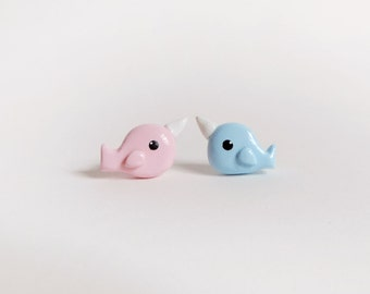 Narwhal Post Earrings Mismatched Pink and Blue Narwhals