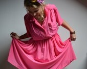 Retro Hot Pink Sweet Little Housewife Vintage Plus Size Dress Belted with Collar Cinched Waist