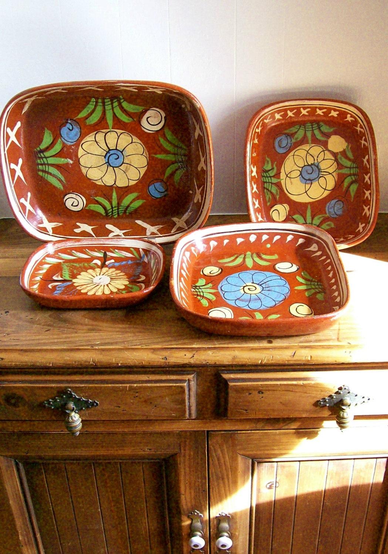 Vintage Mexican Pottery Patio Serving Ware Tlaquepaque Pottery