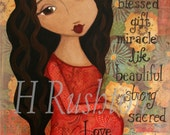 Pregnancy Art, Expecting Mother Gift, Baby shower Gift,Mother and Child Art Print, Mixed Media Art 8 x 10 by HRushton