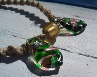 Natural Hemp with Multicolor Swirl Glass Beads
