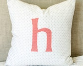 Monogram on Gray Dot  Pillow Cover Embroidered