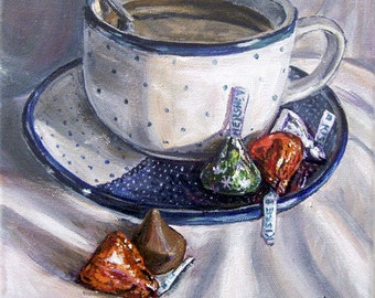 Polish Pottery mug, kitchen decor , coffee art print, stilll life art, blue and white china kitchen wall art, kitchen decor, giclee print