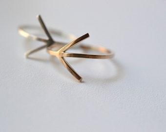 Which way: My way . silver or Gold filled arrow ring. Geometric band.