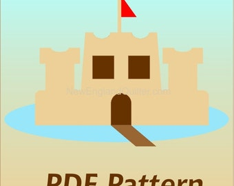 Sand Castle and Moat Applique PDF Pattern - Quilt Block  - Sewing - Crafts - Sand Ocean Sea - Instant Download