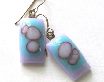 Light Violet and Sky Blue Fused Glass Earrings . Luminous Sea Anemone . Reactive Glass Orbs . Fused Glass Earrings