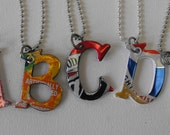 Recycled Monogram Necklace Personalized made from Soda Pop Cans choose your letter