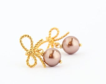 Bronze Pearl Earrings - Bow Jewelry - Wedding Earrings - Cute Earrings - Bridal Earrings - Gold Bow Post Earrings - Bridesmaids Gifts