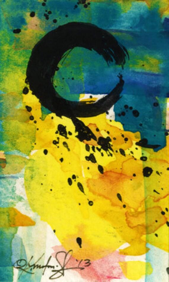 Original Enso Zen Painting Throw Pillows: Enso Zen Circle Watercolor Painting Original Contemporary