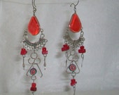 Red-Orange Chandelier Glass Cabochon Multicolor Seed Bead Earrings