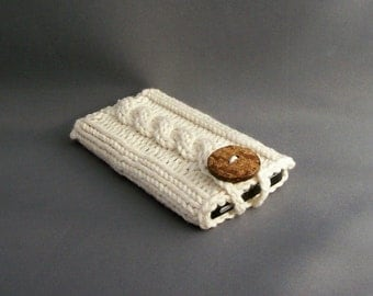 Mobile Cell Phone Case iPhone 5, 6, 6+ Samsung Galaxy s4/s5/s6/s7 Galaxy Note 2 - 5 Off-White Handknit Coconut Button Crocheted Loop Cotton
