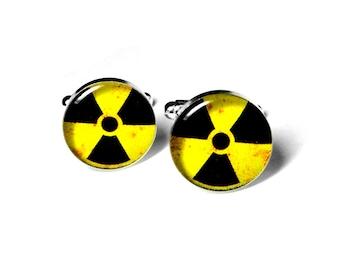 Hazardous Material, Radioactive Cufflinks, Mens Accessories, Handmade Cufflinks, Science, Gift for Him, Resin Cufflinks, Cool Cufflinks
