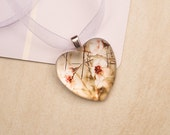 Romantic heart glass photo pendant wildflowers Australia nature photography handmade wedding charm metallic shimmering pink and gold