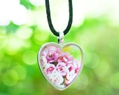 Australian pink wax wildflower heart photo pendant glass nature photography pink green spring blossoms fPOE Perth tiny flowers love