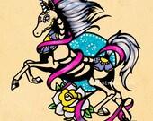 Day of the Dead UNICORN Tattoo Flash Art Print 5 x 7, 8 x 10 or 11 x 14