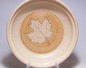 Maple Leaf Quiche in Sand and GoldenTan 196 Handmade Stoneware Baking