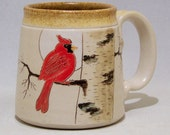 Cardinal and Birch Tree Pottery Coffee Mug L.Series 33  on 12oz white stoneware (microwave safe)
