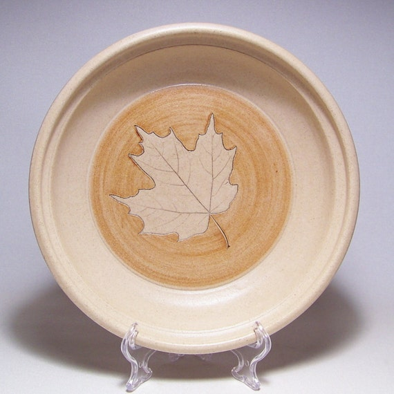 Maple Leaf Quiche in Sand and GoldenTan 196 Handmade Stoneware Baking