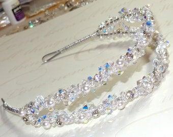 Bridal Wedding Swarovski Crystal Pearl Heavenly Double Tiara Band Headband Rhinestones Crystals Pearls Veil