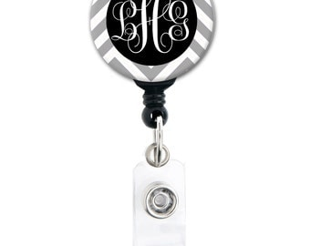 Retractable ID Badge Holder - Monogram Chevron - Choice of Colors - Personalized Name Badge