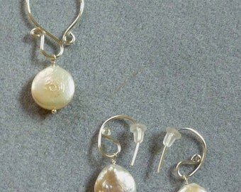 white coin pearl argentium silver pendant and earring suite