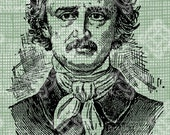 Digital Download Edgar Allen Poe, Antique Illustration, Vintage drawing, digi stamp, Author, Novelist, Writer Transfer