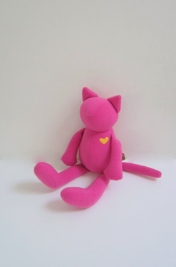 LAST ONE Cat doll Neon pink soft fleece heirloom girl kids toddler baby shower gift Eco Friendly Modern minimalist Christmas gift bubynoa