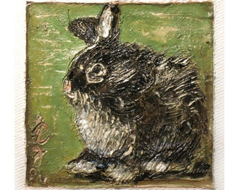 Rabbit Art - Original Bunny Painting - Esme Brown - Gallery Wrapped Canvas Block - Animal Portrait - Kid's Wall Art - Nursery Wall Decor