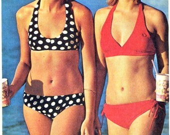 70s vintage bikini swimsuit  bathing suit sewing pattern Simplicity 6353 Sz Small or Medium