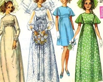 60s Mod Wedding dress and bridesmaid dresses vintage sewing pattern Simplicity 8144 size 10