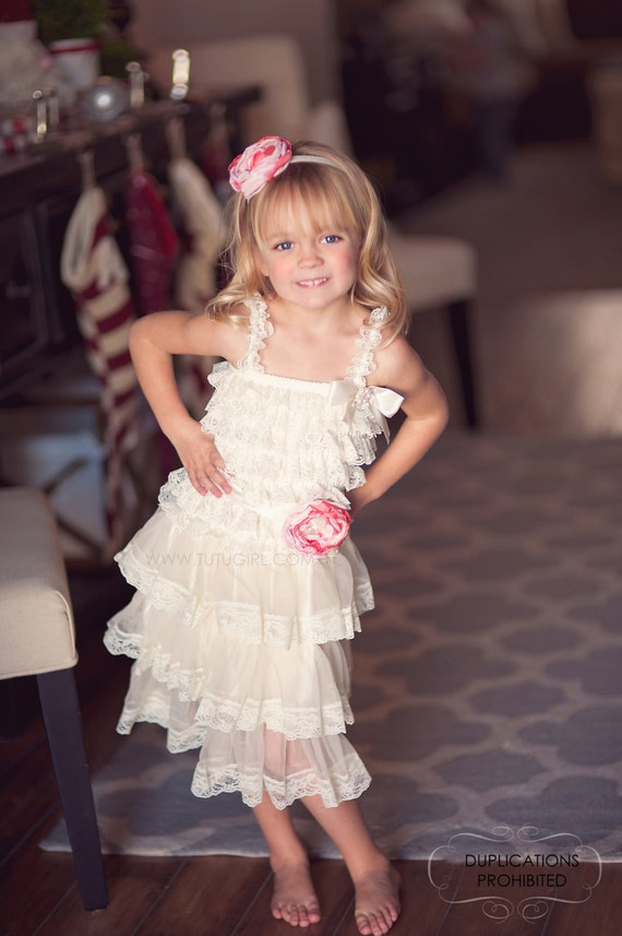 Lace Flower Girl Dress Tutu Dress Ivory Lace Coral By Tutugirl