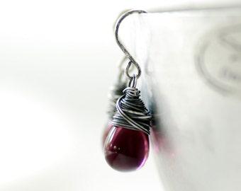 Purple Glass Earrings, Romantic Jewelry, Sterling Silver, Simple Wedding, Purple Wedding, Plum, Drop Earrings, Bridesmaid Jewelry - Orchid