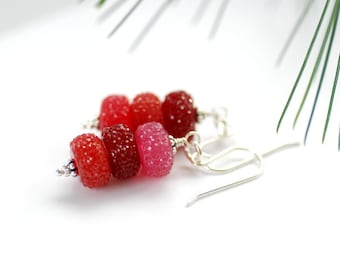 Pink and Red Earrings, Colorful Earrings, Candy Earrings, Holiday Jewelry, Dangle Earrings, Acrylic Jewelry, Sparkly Earrings - Sugar Plums