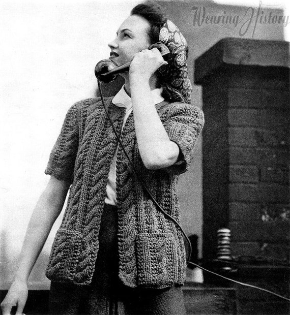 Vintage Sweaters: Cable Knit, Fair Isle Cardigans & Sweaters 1940s Knitted WWII Home Front Cable Cardigan-  PDF Pattern Download $2.99 AT vintagedancer.com