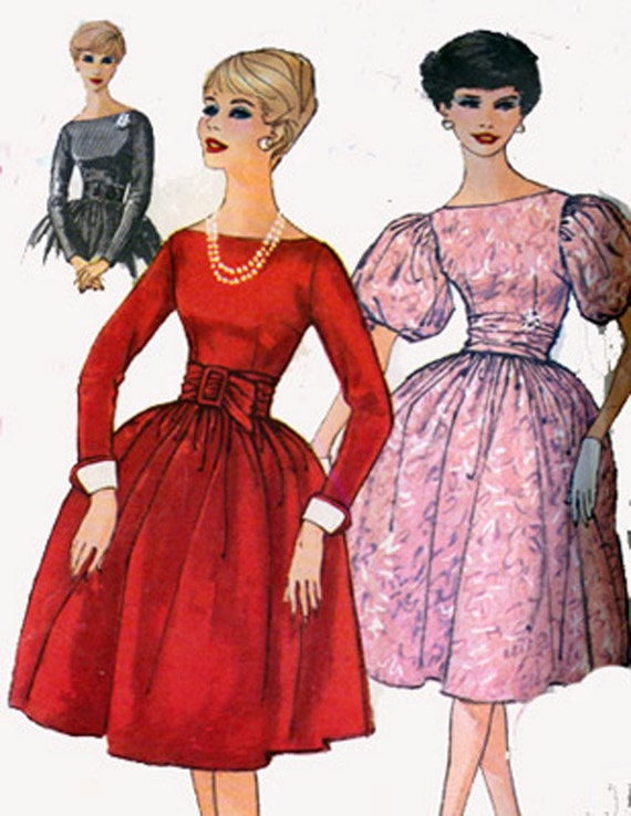 Vintage 50s Sewing Pattern Simplicity 3150 Cocktail Dress with Full Skirt and Bateau Neckline Size 12 Bust 32 uncut