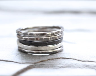 Set of Three Rings Heavy Sterling Silver Hammered Stacking Rings. Thick 14 Gauge