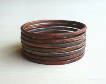 Rustic Stacked Rings - Oxidized - Patina - Hammered - Unisex - Warm - Grey - Industrial Chic - Burnt - Mixed Metal- Stacked Rings- Boho Chic
